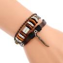 Leather Fashion Geometric bracelet  Dark brown NHPK1242Dark brown