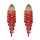 Plastic Fashion Tassel earring  red NHJJ4892red