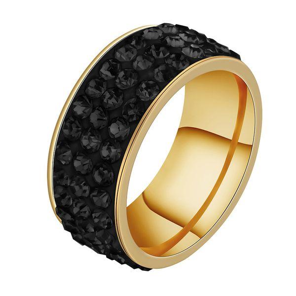 Titanium&Stainless Steel Fashion Geometric Ring  (Three rows of clay - Black Rhinestone - 5) NHHF0001-Three-rows-of-clay-Black-Rhinestone-5
