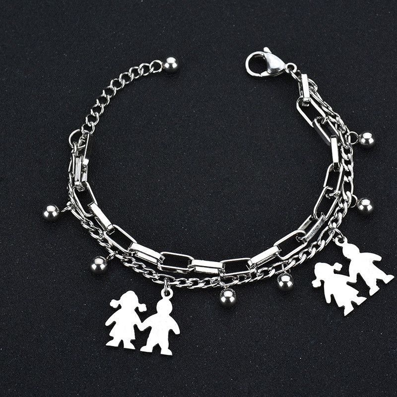 TitaniumStainless Steel Korea Geometric bracelet  Steel color NHHF0014Steelcolor