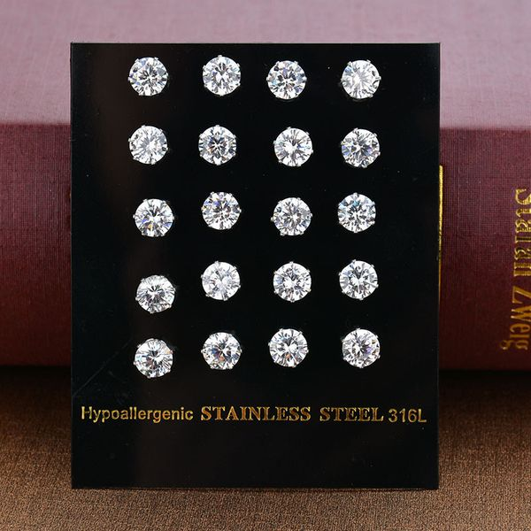 Titanium&Stainless Steel Korea Geometric earring  (Square - Steel-3MM) NHHF0037-Square-Steel-3MM