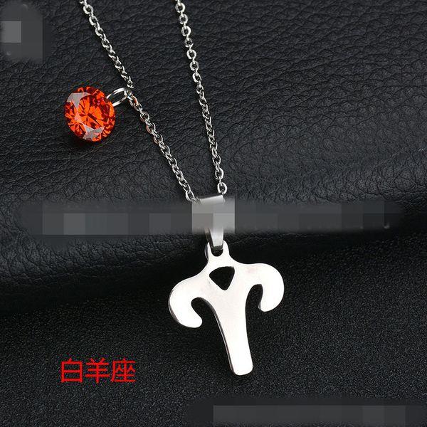 Titanium&Stainless Steel Korea Geometric necklace  (Aries) NHHF0073-Aries