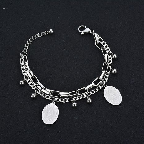 Titanium&Stainless Steel Korea Geometric bracelet  (Steel color) NHHF0108-Steel-color's discount tags