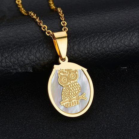 Titanium&Stainless Steel Korea Geometric necklace  (Shell - Owl) NHHF0180-Shell-Owl's discount tags