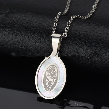 Titanium&Stainless Steel Korea Geometric necklace  (Virgin Mary - Steel) NHHF0206-Virgin-Mary-Steel's discount tags