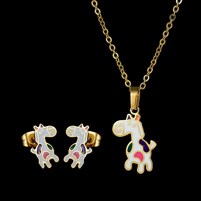 Titanium&Stainless Steel Korea  necklace  (Necklace + Stud Earrings) NHHF0302-Necklace-Stud-Earrings