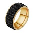 TitaniumStainless Steel Fashion Geometric Ring  Three rows of clay  Black Rhinestone  5 NHHF0001ThreerowsofclayBlackRhinestone5