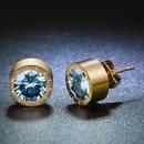 TitaniumStainless Steel Korea Geometric earring  January  Garnet NHHF0294JanuaryGarnet