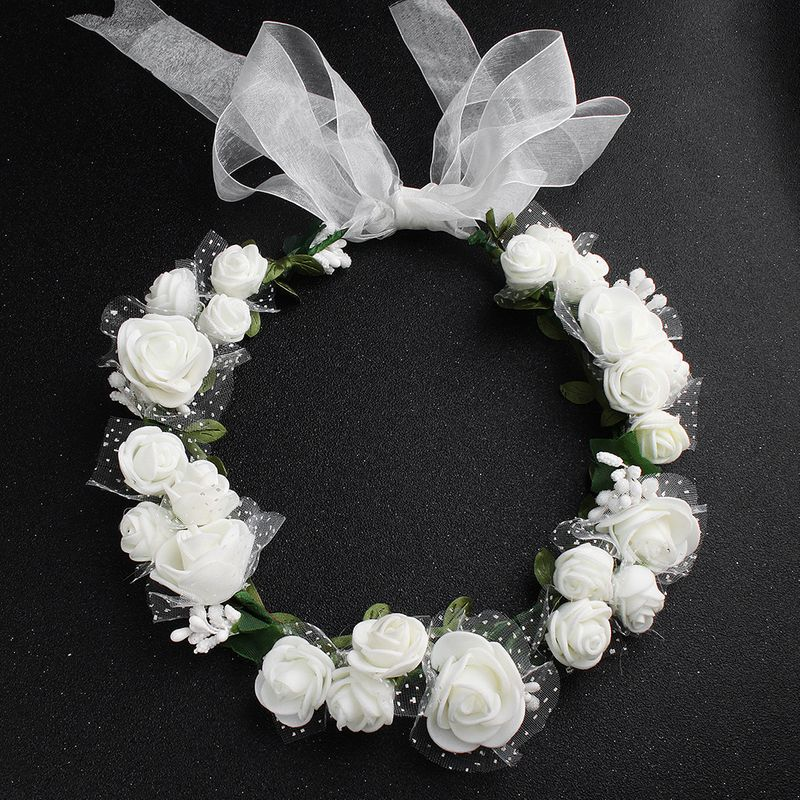 Cloth Simple Flowers Hair accessories  white NHHS0426white