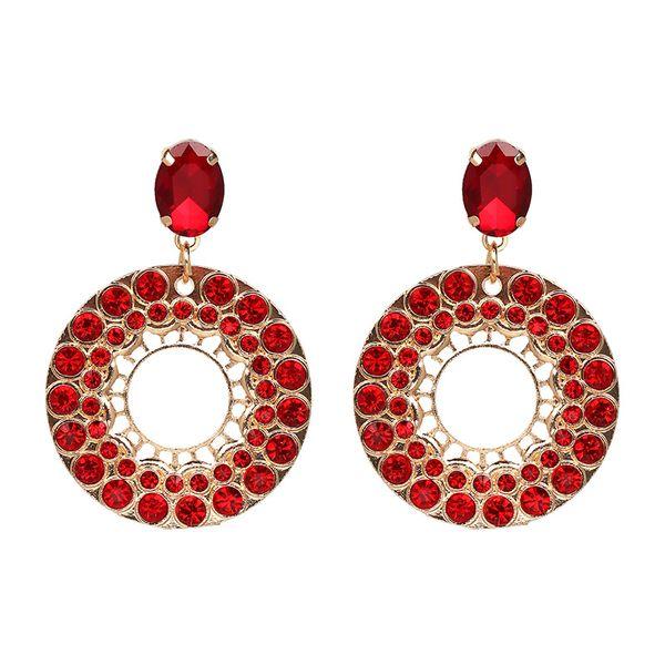 Imitated crystal&CZ Fashion Geometric earring  (red) NHJJ4790-red