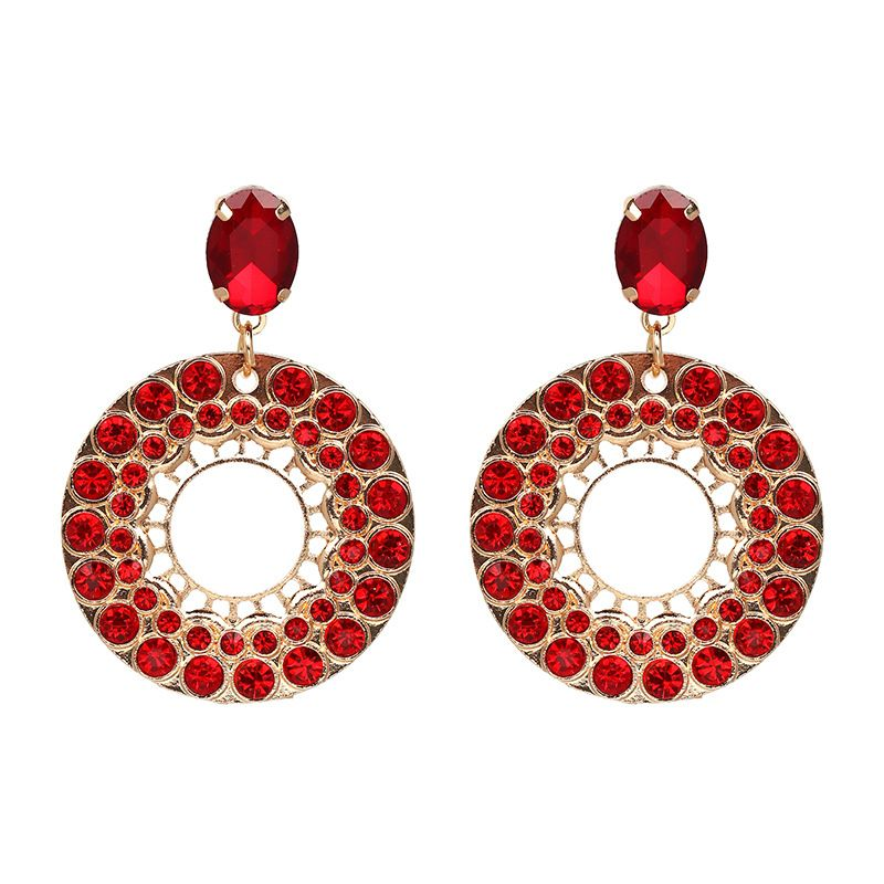Imitated crystal&CZ Fashion Geometric earring  (red) NHJJ4790-red