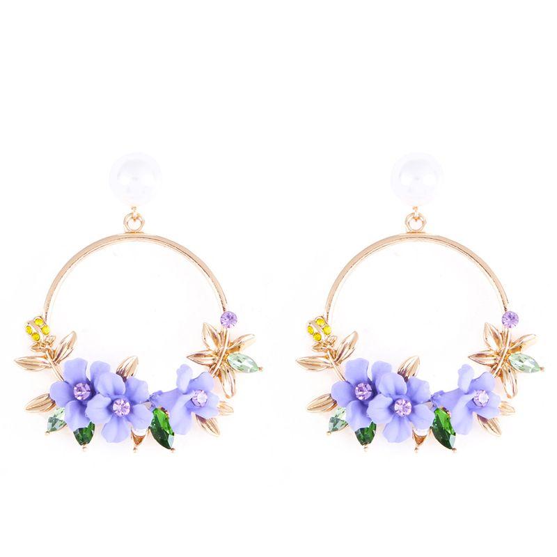 Alloy Korea Geometric earring  purple NHMD4517purple