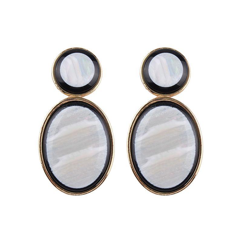 Imitated crystal&CZ Fashion Geometric earring  (white) NHJQ10401-white