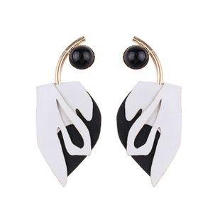 Leather Fashion Geometric earring  (white) NHJQ10418-white's discount tags