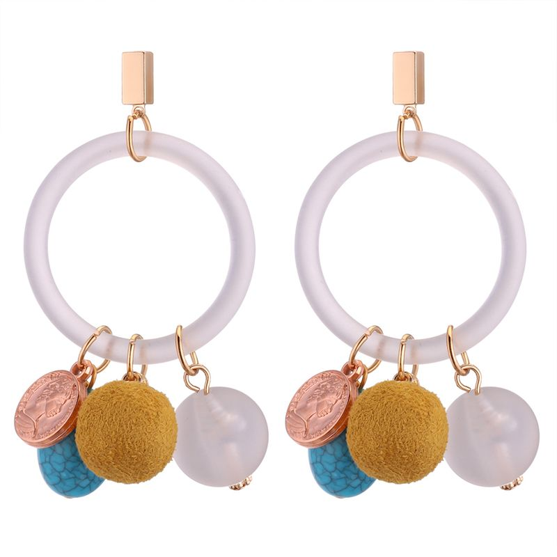European and American personality wild hollow ring ball earrings (yellow) NHNPS4213