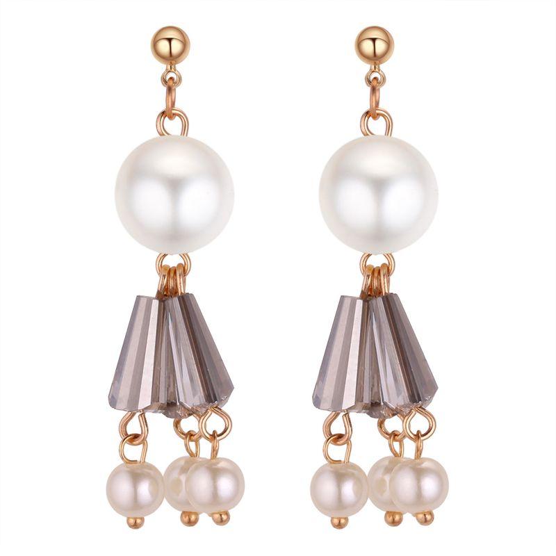 Korean version of the wild fresh beads drops tassel earrings alloy gray + white NHNPS4221