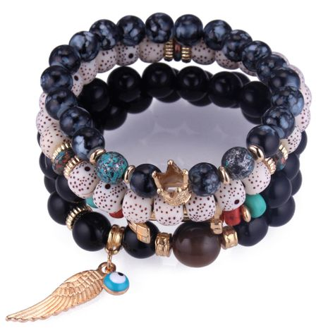 Korean fashion wild wing beads multi-layer bracelet (black) Korean fashion wild wings beaded multi-layer bracelet NHNPS4241's discount tags