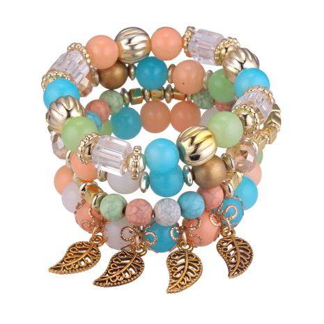 Korean fashion multi-layer Joker 4 sets of leaf beaded bracelet (color) NHNPS4267's discount tags