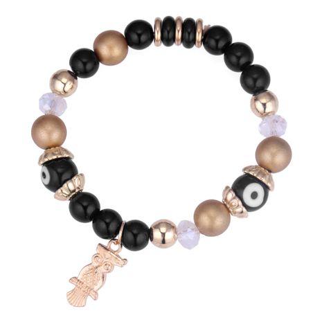 European and American retro wild owl beaded bracelet (black) NHNPS4282's discount tags
