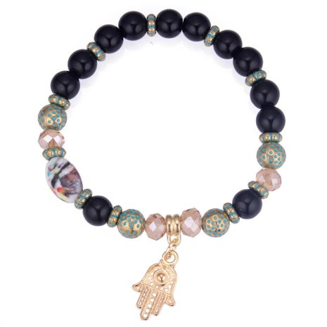 European and American fashion wild palm beaded bracelet (black) NHNPS4294's discount tags