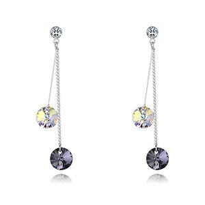 Austrian Imitated crystal Stud Earrings - Summer Time (White + Black Rhinestone) NHKSE28351