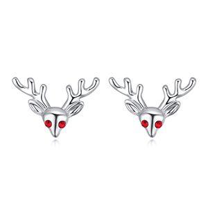 Imported Imitated crystal Stud Earrings  Small Elk Platinum + Light Red NHKSE28443