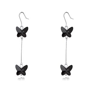Austrian Imitated crystal Earrings  Butterfly Shadow Flying Black NHKSE28376
