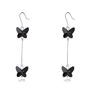Austrian Imitated crystal Earrings - Butterfly Shadow Flying (Black) NHKSE28376