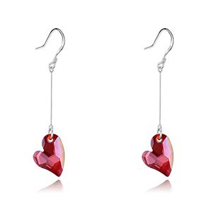 S925 Alloy Austrian Imitated crystal EarringsHui Xin Imitated crystal Red Rock NHKSE28367