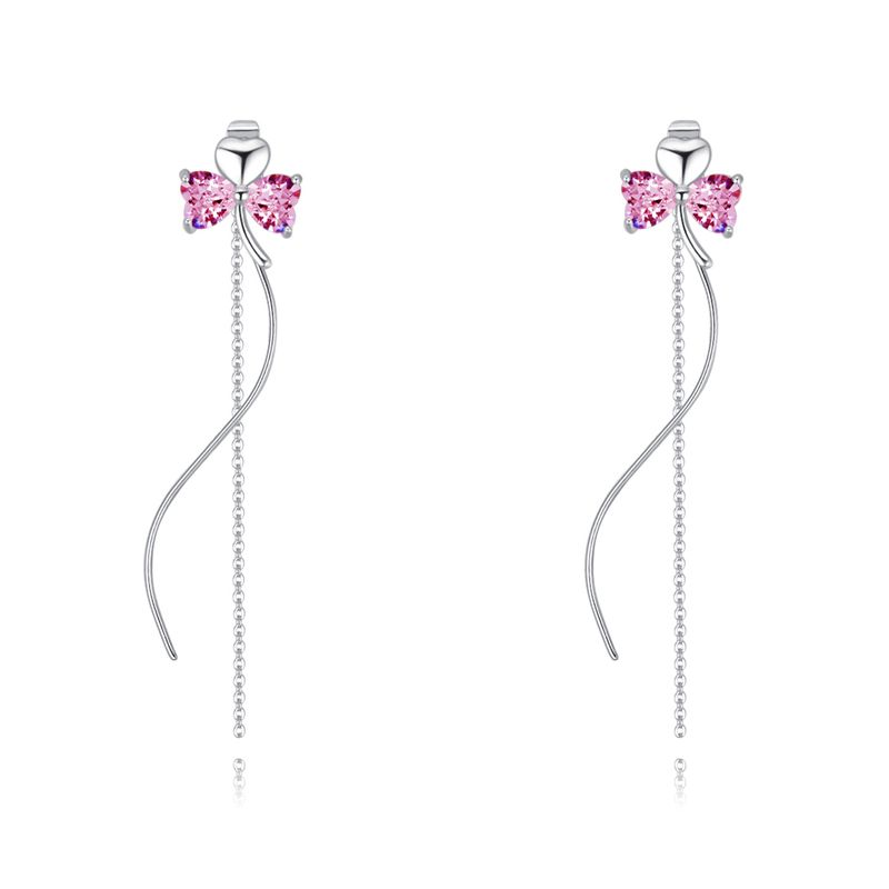 AAA Zircon Stud Earrings - Clover Secret (Pink) NHKSE28469