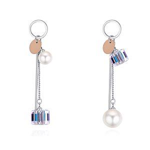 S925 Alloy Austrian Imitated crystal Stud Earrings - Rubik Lovers (color white) NHKSE28451