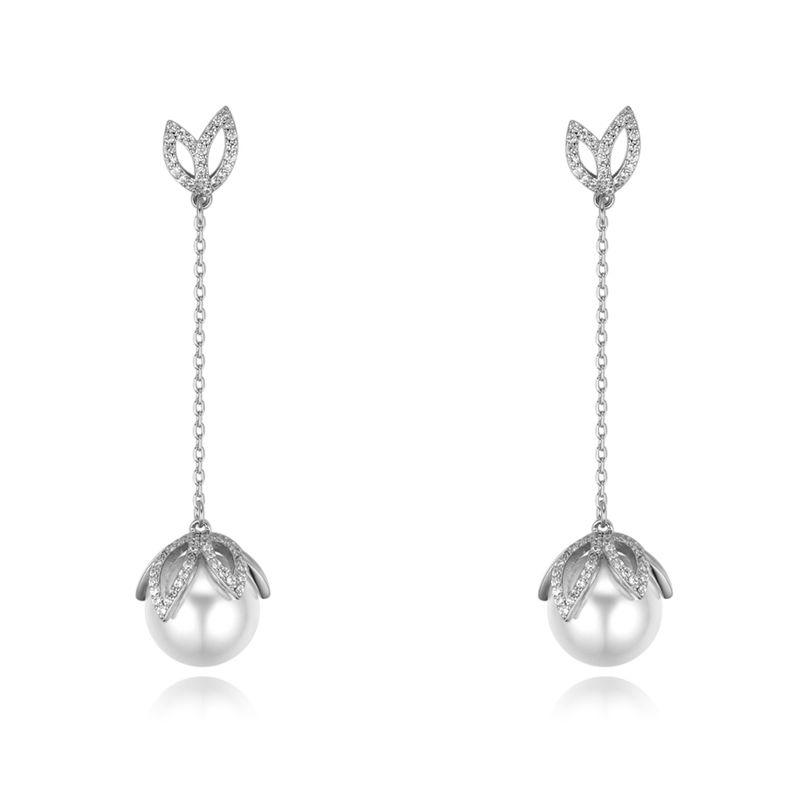 S925 alloy needle AAA micro-inlaid zircon earrings - deciduous dance (Platinum) NHKSE28449