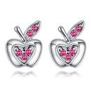 Imported Imitated crystal Ear StudsLove appleseablue NHKSE28433