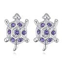 Imported Imitated crystal Ear StudsTurtle Sea Blue NHKSE28413