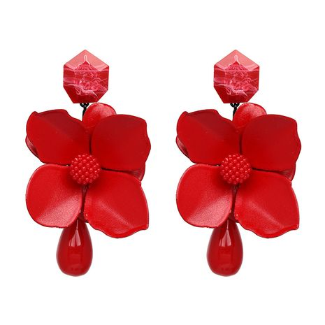 Alloy Fashion Flowers earring  (red) NHJJ4845-red's discount tags