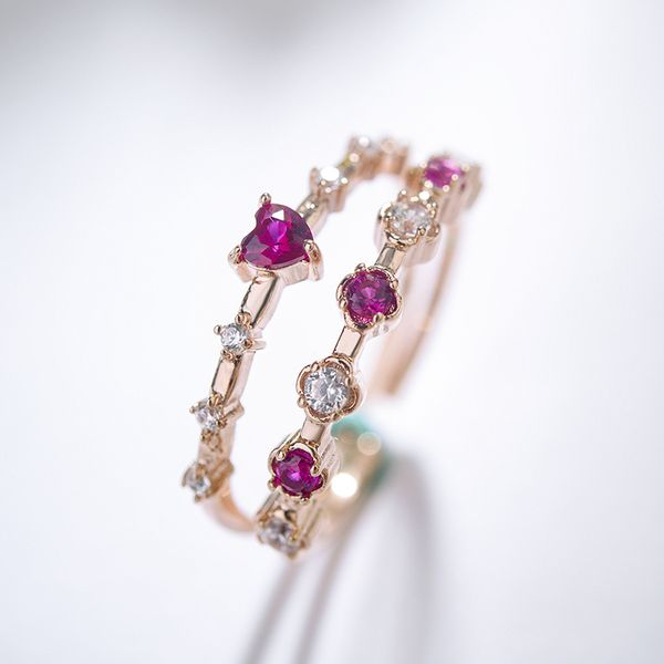 Copper Korea Sweetheart Ring  (Rose alloy) NHLJ3951-Rose-alloy