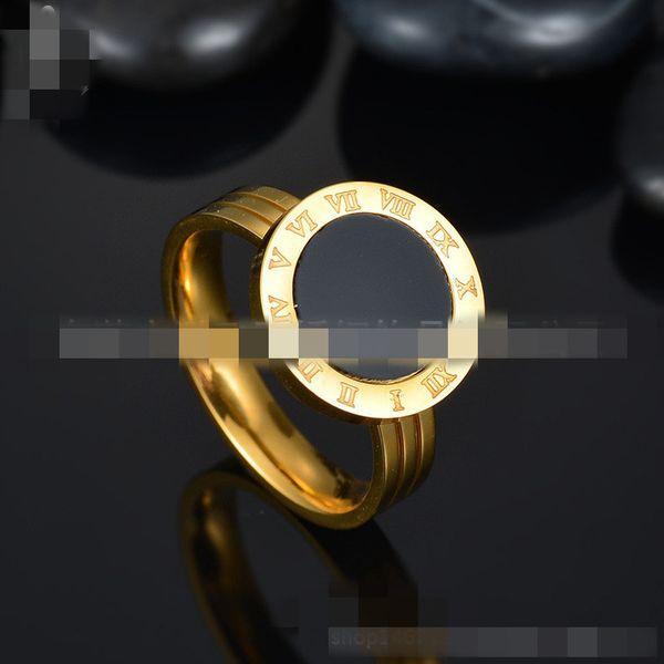 Titanium&Stainless Steel Korea Geometric Ring  (Black Seashell - 6) NHHF0481-Black-Seashell-6