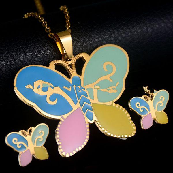 Titanium&Stainless Steel Simple Animal necklace  (Necklace + Stud Earrings) NHHF0600-Necklace-Stud-Earrings