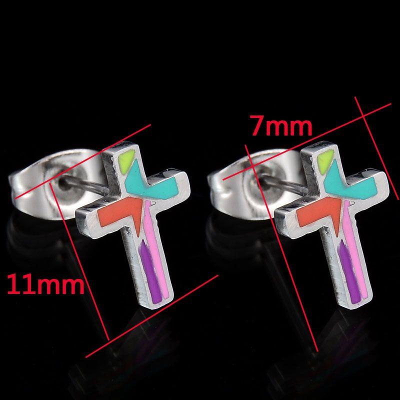 TitaniumStainless Steel Simple  earring  Cross Stud Earrings NHHF0725CrossStudEarrings