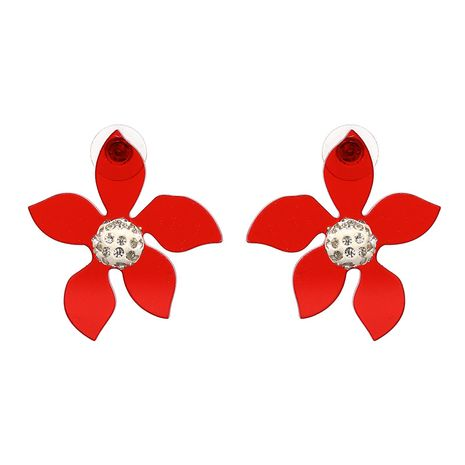 Plastic Fashion Flowers earring  (red) NHJJ4930-red's discount tags