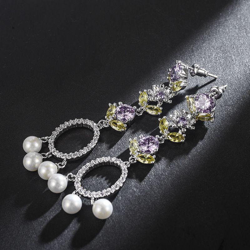 Copper Korea Flowers earring  (Alloy) NHLJ3995-Alloy