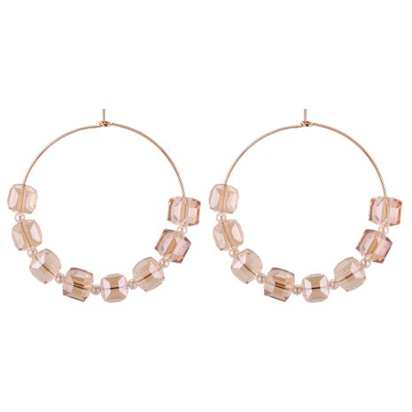 Korean version of simple temperament imitated crystal beaded hollow ring earrings (champagne) NHNPS4427's discount tags