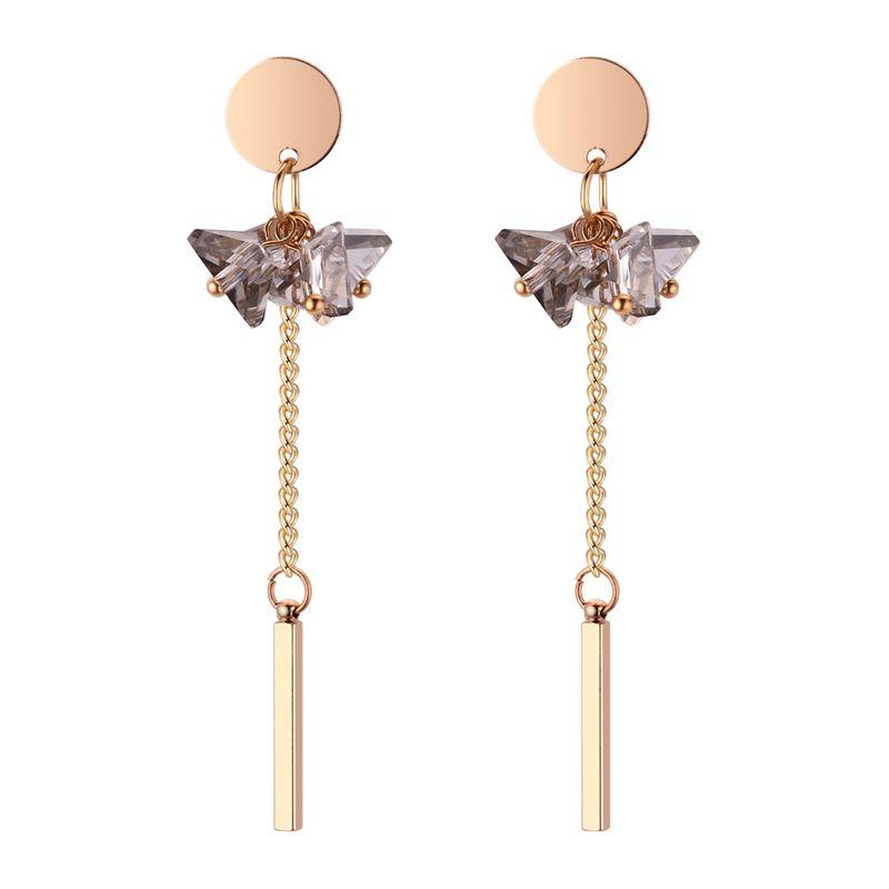 Korean fashion personality temperament imitated crystal fringe earrings (alloy gray) NHNPS4430