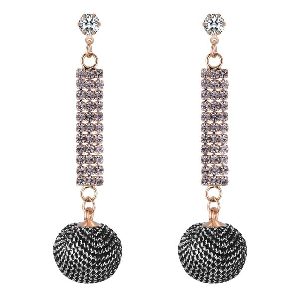 Korean fashion wild ball zircon earrings (alloy black) NHNPS4452