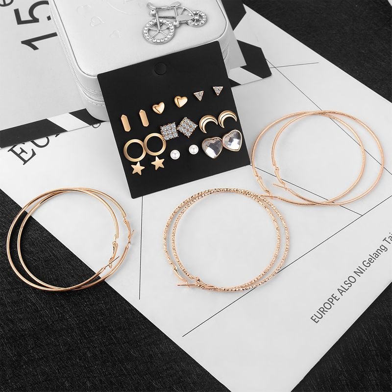 Korean Fashion Personality Creative Set Earrings (Rose Alloy) NHNPS4462