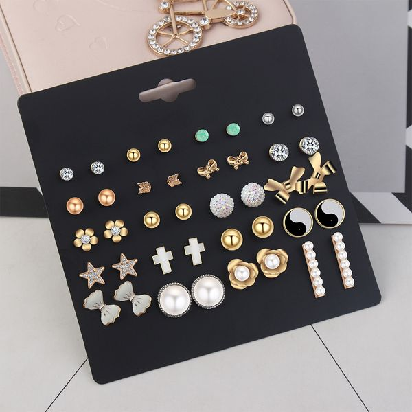 Korean personality creative cold wind ear pin suit combination NHNPS4469