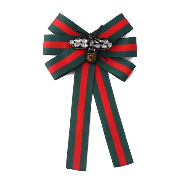 Korean wild fashion fabric striped bow brooch (green + red) NHNPS4470