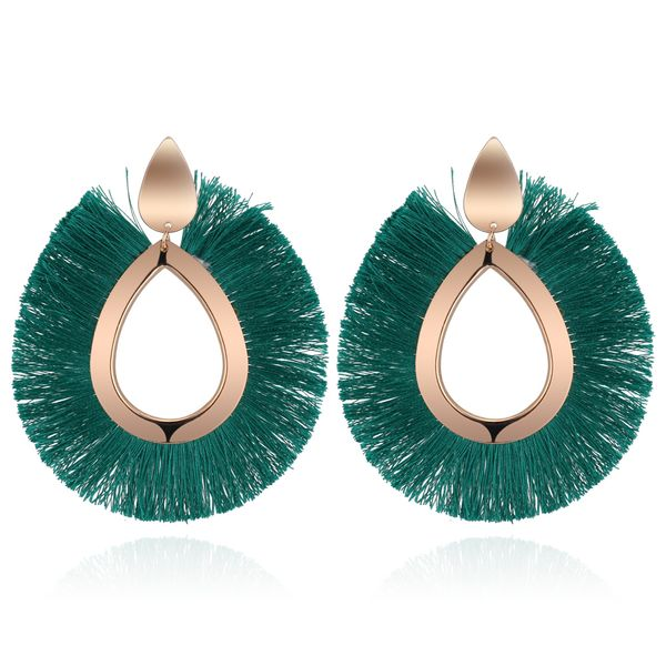 Europe and the United States retro exaggerated silk tassel earrings (green) NHNPS4473