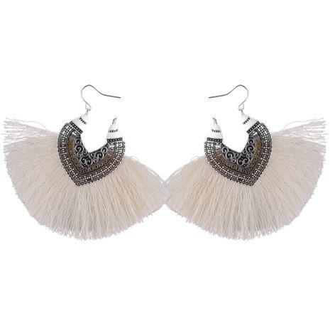 Korean Retro Half Heart Silk Tassel Earrings (White) NHNPS4479's discount tags