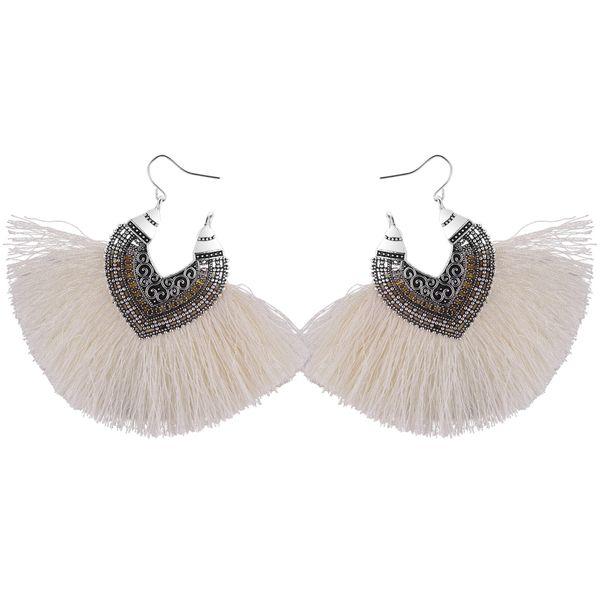 Korean Retro Half Heart Silk Tassel Earrings (White) NHNPS4479